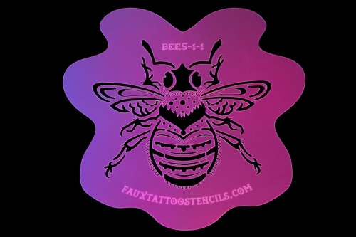 Neo Traditional Bumblebee Airbrush Tattoo Stencil No. 1