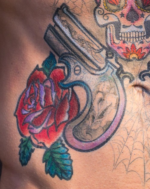 Sugar Skull with Derringers and Roses
