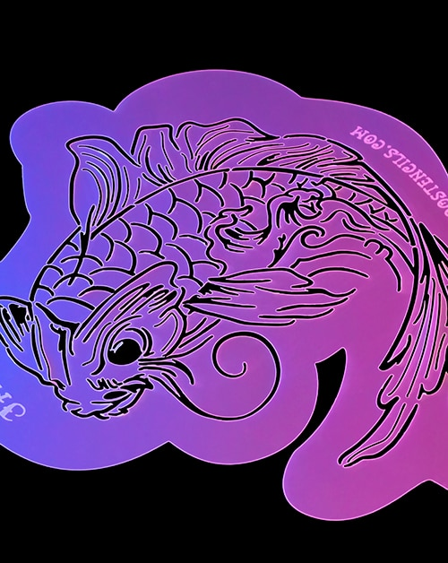 Traditional Japanese Koi No. 1 Airbrush Tattoo Stencil