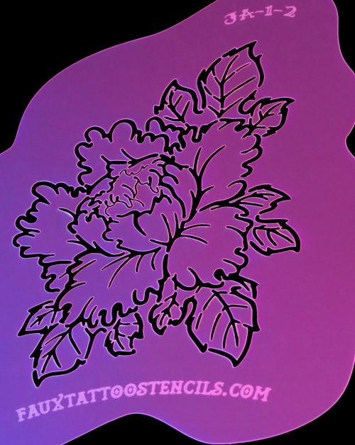 Traditional Japanese Peony Airbrush Tattoo Stencil