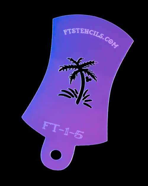 Tiny Palm Tree Finger Tat Airbrush Tattoo Stencil