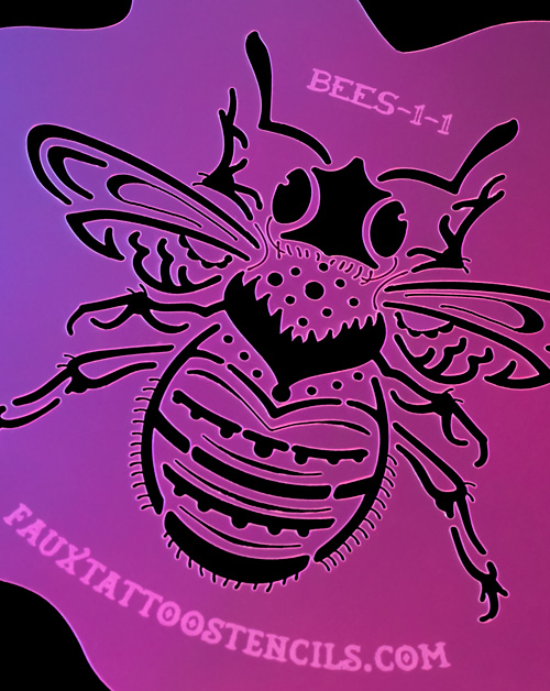 Neo Traditional Bumblebee Airbrush Tattoo Stencil